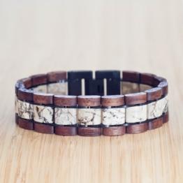 Largo (Walnuss/Marmor) - Holzkern Uhr