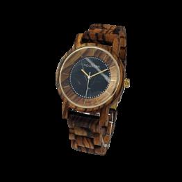 Marco (Zebrano/Marmor) - Holzkern Uhr