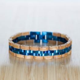 Menuett (Eiche/Blau) - Holzkern Uhr