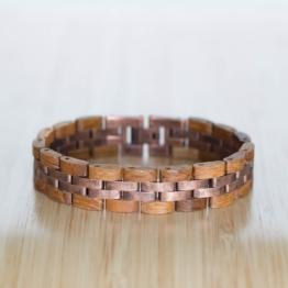 Menuett (Teak/Antikkupfer) - Holzkern Uhr