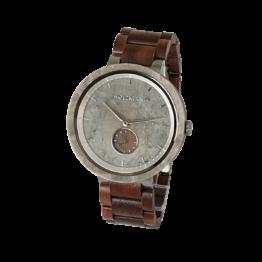 Moeraki (Walnuss/Marmor) - Holzkern Uhr