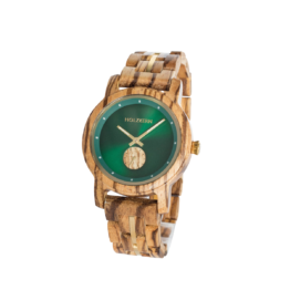 Nanjing (Zebrano/Parkgrün) - Holzkern Uhr