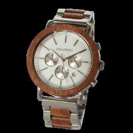 Nebelschleier (Mahagoni/Marmor) - Holzkern Uhr