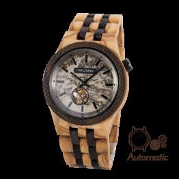 Platon (Olivenholz/Marmor) - Holzkern Uhr