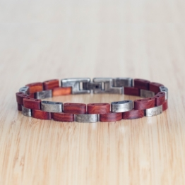 Rondo (Padouk/Antiksilber) - Holzkern Uhr