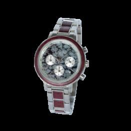 Schneesturm (Amaranth/Obsidian) - Holzkern Uhr