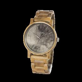Sommertag (Teak/Marmor) - Holzkern Uhr