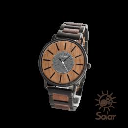 Sonnenfleck (Walnuss/Schwarz) - Holzkern Uhr