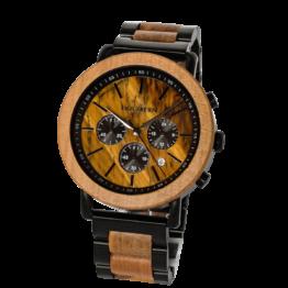 Streulicht (Apfel/Tigerauge) - Holzkern Uhr
