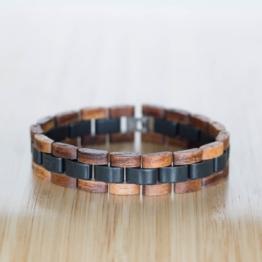 Terzett (Akazie/Schiefer) - Holzkern Uhr