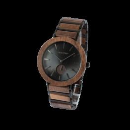 Tundra (Walnuss/Schwarz) - Holzkern Uhr