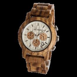 Waldrand (Koa/Lichtsilber) - Holzkern Uhr