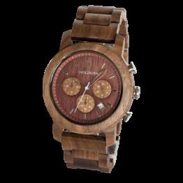 Wildrebe (Walnuss/Weinrot) - Holzkern Uhr