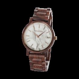 Wintertag (Padouk/Marmor) - Holzkern Uhr