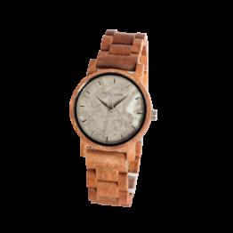 Zuversicht (Mahagoni/Marmor) - Holzkern Uhr