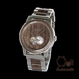 Hongkong (Walnuss/Silber) - Holzkern Uhr