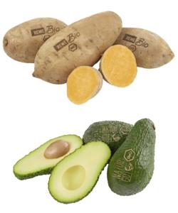 Plastikfreie Avocados und Süßkartoffeln bei REWE mit Bio-Laserlogo