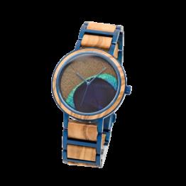 Der Freigeist (Olive/Pfauenfeder) - Holzkern Uhr