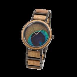 Der Philosoph (Koa/Pfauenfeder) - Holzkern Uhr